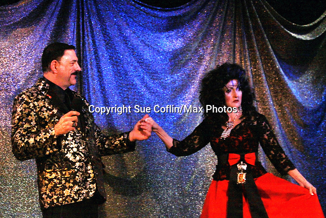 Gary Cosgrove poses with One Life To Live Robin Strasser at ICNY (Imperial Court of New York): Daytime Meets Nighttime Cabaret benefitting LifeBeat: Music Fights HIV and Jan Hus Neighborhood Church, two organizations giving back to the community at November 4, 2011 at the Jan Hus Playhouse Theatre, New York City, New York. (Photo by Sue Coflin/Max Photos)