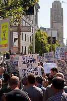 Protesters gather in downtown San Francisco for the result of the California Supreme Court ruling regarding Proposition 8.