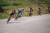 Greg Van Avermaet (BEL/BMC) descending, followed closely by Philippe Gilbert (BEL/Quick Step floors)<br /> <br /> Stage 5: Gstaad &gt; Leukerbad (155km)<br /> 82nd Tour de Suisse 2018 (2.UWT)