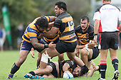 Pat Masoe tries to protect Mitchell Thackam and the ruck ball from Kalim North. Premier Counties Power Club Rugby Round 3, Counties Power Game of the Week, between Patumahoe and Bombay, played at Patumahoe on Saturday March 24th 2018. <br /> Photo by Richard Spranger.<br /> <br /> Patumahoe Counties Power Cup Holders won the game 26 - 23 after trailing 7 - 23 at halftime.<br /> Patumahoe 26 - Penalty try, Richard Taupaki, Theodore Solipo, Craig Jones tries; Riley Hohepa 2 conversions. <br /> Bombay 23 - Shaun Muir, Jordan Goldsmith, Liam Daniela, tries; Tim Cossens conversion; Tim Cossens 2 penalties.