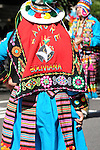 The Hispanic Parade in New York City. A woman wearing traditional clothes and representing Bolivia in the Hispanic Parade in New York City.