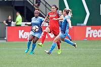 Portland, OR - Saturday June 17, 2017: Mandy Freeman, Christine Sinclair during a regular season National Women's Soccer League (NWSL) match between the Portland Thorns FC and Sky Blue FC at Providence Park.