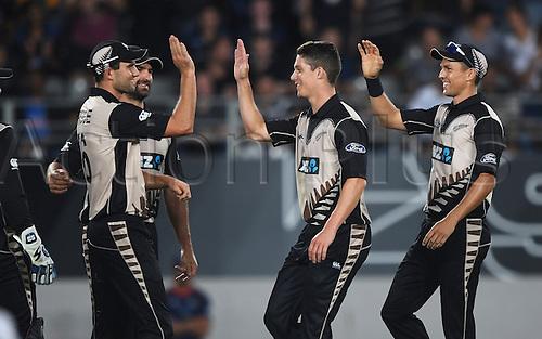 February 17th 2017,  Ben Wheeler celebrates with team mates the wicket of Amla. International Twenty20 Cricket. New Zealand Black Caps v South Africa, Eden Park, Auckland, New Zealand. Friday 17 February 2017