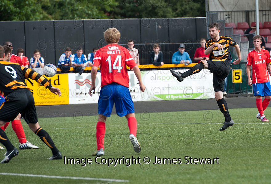 Alloa's Ben Gordon shoots over.