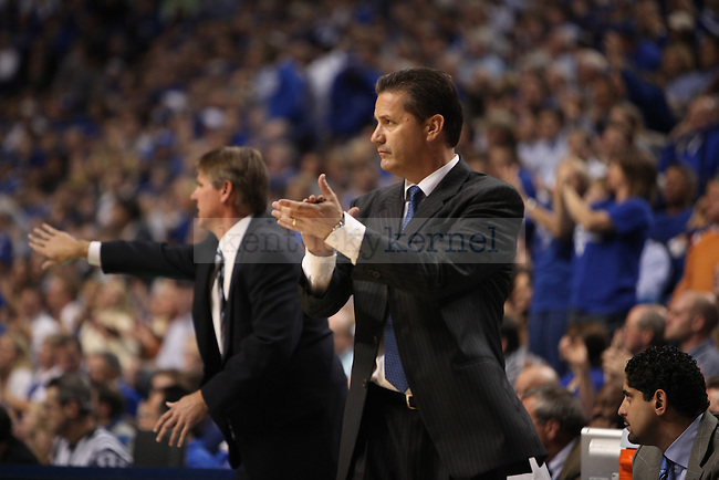 UK head coach John Calipari watches his team during the first half of the men's basketball game against Miami of Ohio University at Rupp Arena on Monday, Nov. 16, 2009.  Photo by Britney McIntosh | Staff