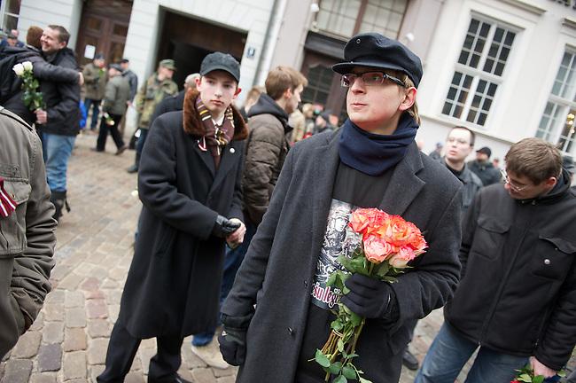 Marsch von ehemaligen <br /> lettischen SS-Angehoerigen in Riga.<br /> Am Freitag den 16. Maerz 2012 marschierten ehemalige SS-Angehoerige aus Lettland, der sog. &quot;Lettischen Legion&quot; der Waffen-SS, durch die Lettische Hauptstadt Riga. Sie wurden begleitet von ca. 2000 Sympathiesanten aus ueberwiegend aus Osteuropa Europa. Der Marsch findet seit 1998 jaehrlich statt. Am 16. Maerz 1944 hatten die lettischen SS-Divisionen angeblich ihre ersten Kaempfe gegen die Sowjet-Armee. 1998 und 1999 war der 16. Maerz lettischen Nationalfeiertag.<br /> March of former SS-Veterans from Latvia at Friday the 16th of March 2012 in Riga. The SS-Veterans where supported by neofascists and radical nationalists from mostly Europe.<br /> 16.3.2012, Riga/Lettland<br /> Copyright: Christian-Ditsch.de<br /> [Inhaltsveraendernde Manipulation des Fotos nur nach ausdruecklicher Genehmigung des Fotografen. Vereinbarungen ueber Abtretung von Persoenlichkeitsrechten/Model Release der abgebildeten Person/Personen liegen nicht vor. NO MODEL RELEASE! Nur fuer Redaktionelle Zwecke. Don't publish without copyright Christian-Ditsch.de, Veroeffentlichung nur mit Fotografennennung, sowie gegen Honorar, MwSt. und Beleg. Konto: I N G - D i B a, IBAN DE58500105175400192269, BIC INGDDEFFXXX, Kontakt: post@christian-ditsch.de<br /> Bei der Bearbeitung der Dateiinformationen darf die Urheberkennzeichnung in den EXIF- und  IPTC-Daten nicht entfernt werden, diese sind in digitalen Medien nach &sect;95c UrhG rechtlich geschuetzt. Der Urhebervermerk wird gemaess &sect;13 UrhG verlangt.]