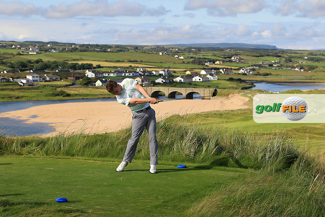 David Byrne (Greystones) on the 9th tee during Round 1 of The South of Ireland in Lahinch Golf Club on Saturday 26th July 2014.<br /> Picture:  Thos Caffrey / www.golffile.ie