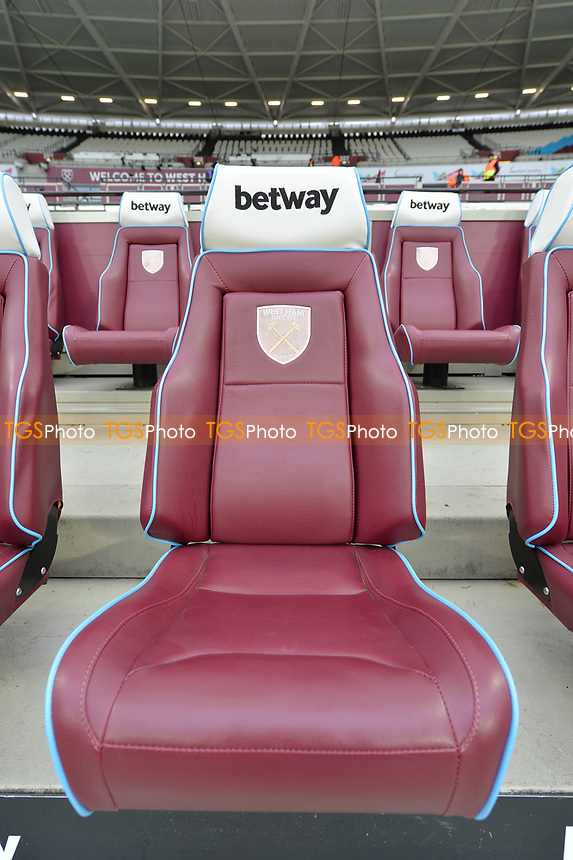 The Bench during West Ham United vs Arsenal, Premier League Football at The London Stadium on 12th January 2019