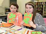 Ellen Pentony and hannah Heeney who took part in the St Patrick's art session in the Library. Photo:Colin Bell/pressphotos.ie