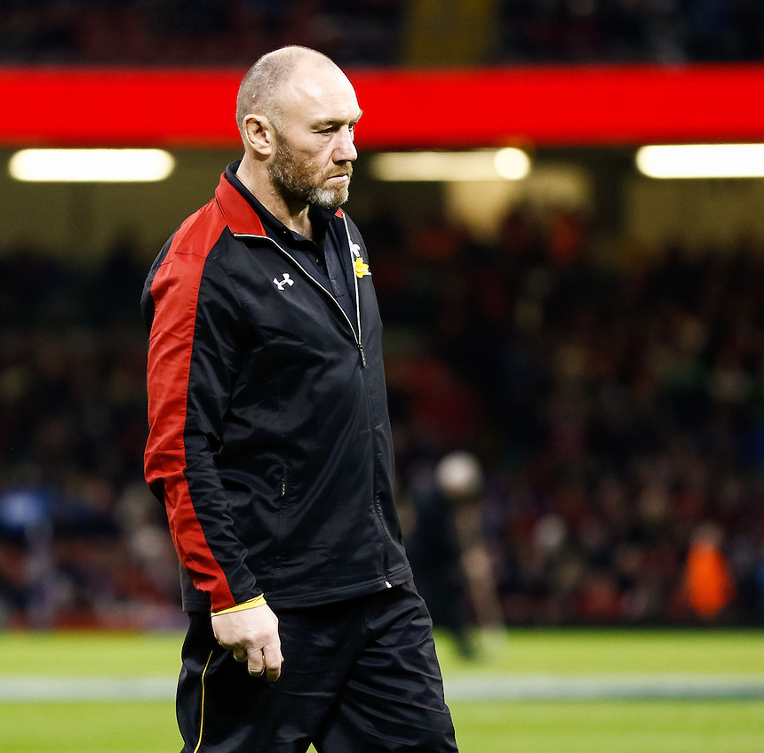 Wales Coach Robin McBryde during the pre match warm up<br /> <br /> Photographer Simon King/CameraSport<br /> <br /> International Rugby Union - RBS 6 Nations Championships 2016 - Wales v Italy - Saturday 19th March 2016 - Principality Stadium, Cardiff <br /> <br /> &copy; CameraSport - 43 Linden Ave. Countesthorpe. Leicester. England. LE8 5PG - Tel: +44 (0) 116 277 4147 - admin@camerasport.com - www.camerasport.com