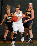 FEBRUARY 14, 2015 -- Logan Cowan  #44 (center) of Black Hills State along with Taylor Torres #24 and Kate Louthan #14 of Colorado Christian train their eyes on a loose ball during their Rocky Mountain Athletic Conference women's basketball game Saturday at the Donald E. Young Center in Spearfish, S.D.  (Photo by Dick Carlson/Inertia)