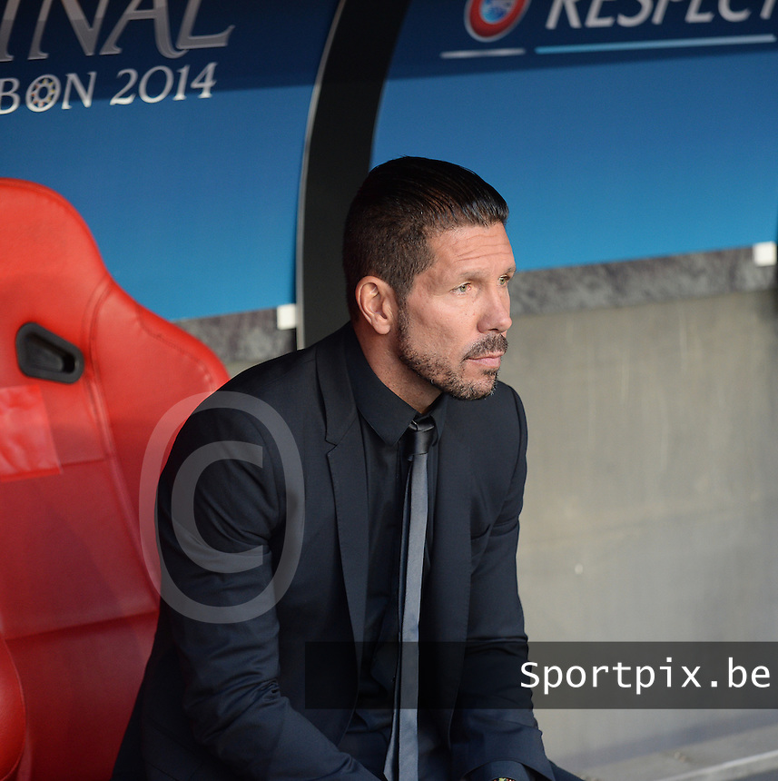 20140524 - LISBON , PORTUGAL : Atletico's coach Diego Simeone pictured during soccer match between Real Madrid CF and Club Atletico de Madrid in the UEFA Champions League Final on Saturday 24 May 2014 in Estadio Da Luz in Lisbon .  PHOTO DAVID CATRY
