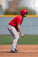 Los Angeles Angels outfielder Brandon Marsh (6) during a Minor League Spring Training game against the Chicago Cubs at Sloan Park on March 20, 2018 in Mesa, Arizona. (Zachary Lucy/Four Seam Images)