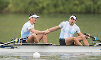 Lucerne, SWITZERLAND<br /> <br /> ARG M2-, after finish Semi-Final A/B at the 2016 European Olympic Qualifying Regatta, Lake Rotsee.<br /> <br /> Monday  23/05/2016<br /> <br /> [Mandatory Credit; Peter SPURRIER/Intersport-images]