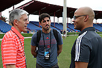 10 January 2016: Chicago Fire technical director Nelson Rodriguez (left) and head coach Vjelko Paunovic (FYR) (center) with New York Red Bulls technical director Ali Curtis (right). The adidas 2016 MLS Player Combine was held on the cricket oval at Central Broward Regional Park in Lauderhill, Florida.