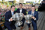 27-9-2014:   Aidan O'Mahony with Paul Murphy and Shane Ryan on right at the Kerry Team homecoming in Rathmore, County Kerry last evening.<br /> Picture by Don MacMonagle