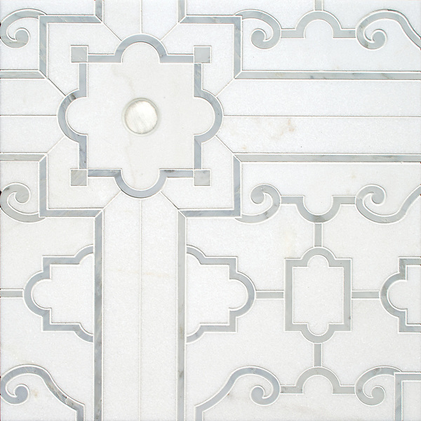 Jardin de Versailles, a waterjet stone mosaic, shown in polished Thassos, and Calacatta Radiance with brushed Aluminum, is part of the Jardins Français collection by Caroline Beaupere for New Ravenna.