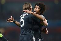 FUSSBALL  CHAMPIONS LEAGUE  ACHTELFINALE  HINSPIEL  2012/2013      FC Arsenal London - FC Bayern Muenchen       19.02.2013 Jubel: Daniel van Buyten (li) und Dante (re, beide FC Bayern Muenchen)