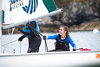 Skipper Lucie Ford, '20, works the sail as Salve practices in the Newport Harbor.