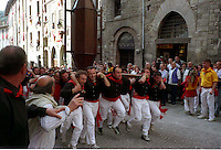 Gubbio 15 MAY 2006..Festival of the Ceri..The Cero St Anthony in Via dei Consoli....http://www.ceri.it/ceri_eng/index.htm..