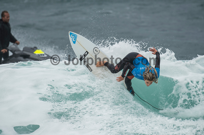 BELLS BEACH, Victoria/AUS (Saturday, March 26, 2016) Bronte MacAulay (AUS) - Action at the Rip Curl Pro Bells Beach, the second stop on the World Surf League (WSL) Championship Tour (CT), continued today with the remaining six heats of Round 1, Round two and Round three of the Women's.<br /> There were light West to South West winds through the day with the swell in the 4'-6' range.<br /> <br /> Bells Beach has been hosting surfing tournaments for more than 50 years now, making it the most renowned spot on the raw and rugged southern coast of Victoria, Australia. The list of  Rip Curl Pro event champions is a veritable who's who of surfing icons, including many world champions.<br /> <br /> Surfing's greats have a way of dominating Bells. Mark Richards, Kelly Slater, and Mick Fanning all have four Bells trophies; Michael Peterson and Sunny Garcia, three; While Simon Anderson, Tom Curren, Joel Parkinson, Andy Irons, and Damien Hardman each grabbed a pair.<br /> <br /> The story is similar on the women's side. Lisa Andersen and Stephanie Gilmore have four Bells titles; Layne Beachley and Pauline Menczer, three; while Kim Mearig and Sally Fitzgibbons each have two.<br /> <br /> The 2016 event is about to kick off tomorrow and there was a packed warm up session at Bells this morning. <br /> Photo: joliphotos.com