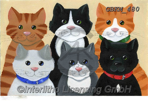Kate, CUTE ANIMALS, LUSTIGE TIERE, ANIMALITOS DIVERTIDOS, paintings+++++Feline rogues gallery.,GBKM480,#ac#, EVERYDAY ,cat,cats