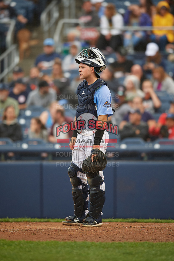 Trenton Thunder catcher Ryan Lidge (43) during a game against the New Hampshire Fisher Cats on August 19, 2018 at ARM & HAMMER Park in Trenton, New Jersey.  New Hampshire defeated Trenton 12-1.  (Mike Janes/Four Seam Images)