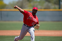 Los Angeles Angels relief pitcher Mayky Perez (90) delivers a pitch to the plate during an Extended Spring Training game against the Chicago Cubs at Sloan Park on April 14, 2018 in Mesa, Arizona. (Zachary Lucy/Four Seam Images)