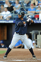 Empire State center fielder Chris Dickerson #24 awaits a pitch during a game against the Durham Bulls  at Durham Bulls Athletic Park on June 8, 2012 in Durham, North Carolina . The Yankees defeated the Bulls 3-1. (Tony Farlow/Four Seam Images).