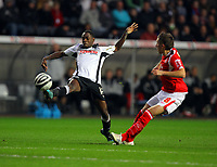 ATTENTION SPORTS PICTURE DESK<br /> Pictured: Nathan Dyer of Swansea City in action <br /> Re: Coca Cola Championship, Swansea City Football Club v Nottingham Forest at the Liberty Stadium, Swansea, south Wales. Saturday 12 December 2009