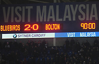 The scoreboard displays the full time score<br /> <br /> Photographer Kevin Barnes/CameraSport<br /> <br /> The EFL Sky Bet Championship - Cardiff City v Bolton Wanderers - Tuesday 13th February 2018 - Cardiff City Stadium - Cardiff<br /> <br /> World Copyright &copy; 2018 CameraSport. All rights reserved. 43 Linden Ave. Countesthorpe. Leicester. England. LE8 5PG - Tel: +44 (0) 116 277 4147 - admin@camerasport.com - www.camerasport.com