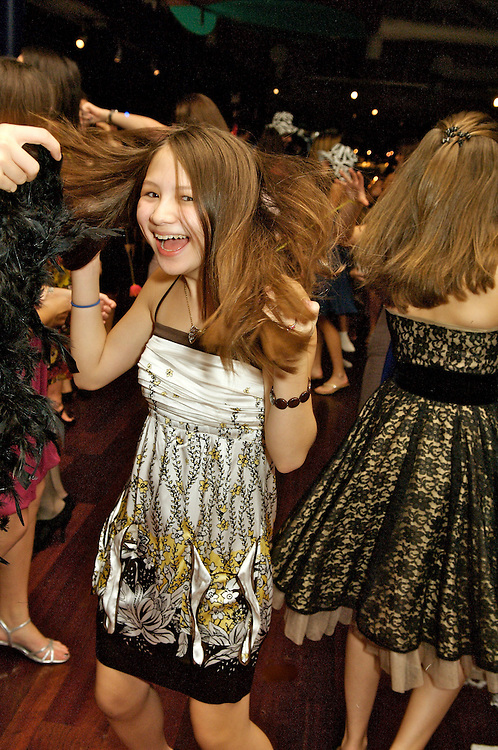 Girl Dancing at a Bat Mitzvah at Bridgewaters, South Street Seaport