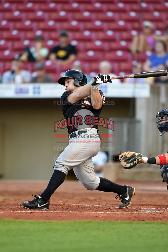 Quad Cities River Bandits catcher Brett Booth (9) at bat during a game against the Cedar Rapids Kernels on August 18, 2014 at Perfect Game Field at Veterans Memorial Stadium in Cedar Rapids, Iowa.  Cedar Rapids defeated Quad Cities 5-3.  (Mike Janes/Four Seam Images)