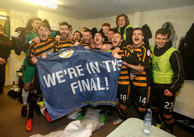 Alloa celebrate defeating Rangers to book a place in the Petrofac Cup Final