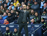 Josep Guardiola manager of Manchester City cheers as a decision by referee Anthony Taylor is given to City during the Premier League match at the Etihad Stadium, Manchester. Picture date: December 3rd, 2016. Pic Simon Bellis/Sportimage