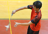 Salvatore Lo of Syosset serves against Great Neck South's Ray Ngan (not pictured) during a first singles varsity boys badminton match at Syosset High School on Thursday, Oct. 6, 2016.