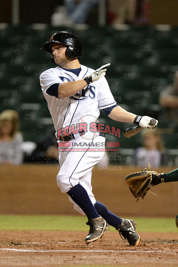 Salt River Rafters second baseman Ryan Brett (8), of the Tampa Bay Rays organization, during an Arizona Fall League game against the Mesa Solar Sox on October 10, 2013 at Salt River Fields at Talking Stick in Scottsdale, Arizona.  Mesa defeated Salt River 8-1.  (Mike Janes/Four Seam Images)