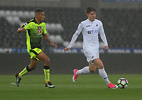 Pictured: (L-R) Andy Rinomhota of Reading follows Adnan Maric of Swansea City Monday 15 May 2017<br /> Re: Premier League Cup Final, Swansea City FC U23 v Reading U23 at the Liberty Stadium, Wales, UK