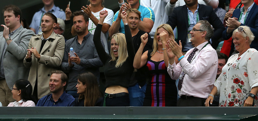 The girlfriend of Marcus Willis, Jennifer Bate shows her support during his Gentleman's Singles Second Round match against Roger Federer on Centre Court<br /> <br /> Photographer Stephen White/CameraSport<br /> <br /> Tennis - Wimbledon Lawn Tennis Championships - Day 3 - Wednesday 29th June 2016 -  All England Lawn Tennis and Croquet Club - Wimbledon - London - England<br /> <br /> World Copyright &copy; 2016 CameraSport. All rights reserved. 43 Linden Ave. Countesthorpe. Leicester. England. LE8 5PG - Tel: +44 (0) 116 277 4147 - admin@camerasport.com - www.camerasport.com