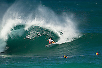 BANZAI PIPELINE, Oahu/Hawaii (Friday, December 9, 2011) Gabriel Medina (BRA). – The Billabong Pipe Masters in Memory of Andy Irons ran for the second consecutive day with firing 10 foot (3-4 metre metre) waves. Today's proceedings commenced with Round 3 and completed Rounds 4 and 5 by day's end...The Final stop on the 2011 ASP World Title Series and the third Jewel of the Vans Triple Crown, the Billabong Pipe Masters plays a vital role in both qualification campaigns for the ASP Top 34 for 2012 while representing the deciding event for the prestigious Hawaiian trifecta title...John John Florence (haW) was the standout again today score a perfect 10 point ride in each of his heats and advancing to the quarter finals. Kelly Slater (USA), Joel Parkinson (AUS) and Gabriel Medina (BRA) also advanced tot eh quarter finals.  Photo: joliphotos.com