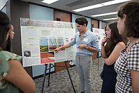"""A Host Range Survey of the Ambrosia Beetle (Coleoptera: Scolytinae) - Phytopathogenic Fungus Complex in Los Angeles, California"" by Diego Zapata<br /> (Mentor: Gretchen North, Biology)<br /> Occidental College's Undergraduate Research Center hosts their annual Summer Research Conference, Aug. 1, 2018. Student researchers presented their work as either oral or poster presentations at the final conference. The program lasts 10 weeks and involves independent research in all departments.<br /> (Photo by Marc Campos, Occidental College Photographer)"
