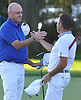 Jimmy Hazen, left, gets congratulated by competing golfer Anthony Aruta after winning the Long Island Open at Garden City Country Club on Thursday, June 9, 2016. Hazen had a three-round score of 2-under 208 to win the tournament.