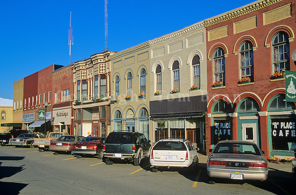 Small town stores on Courthouse Square in county seat town of Bloomfield, Iowa, AGPix_0168.
