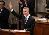 Jens Stoltenberg, Secretary General of the North Atlantic Treaty Organization (NATO) waves to the audience prior to addressing a joint session of the United States Congress in the US Capitol in Washington, DC on Wednesday, April 3, 2019.<br /> Credit: Ron Sachs / CNP