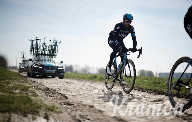 Sir Bradley Wiggins (GBR/Sky) checking a rough section over the Roubaix cobbles<br /> <br /> 2015 Paris-Roubaix recon with Team SKY