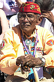"Washington, D.C. - May 29, 2004 -- An unidentified veteran Navajo ""Code Talker"" listens as United States President George W. Bush makes remarks at the dedication of the World War Two Memorial in Washington, D.C. on May 29, 2004..Credit: Ron Sachs / CNP"