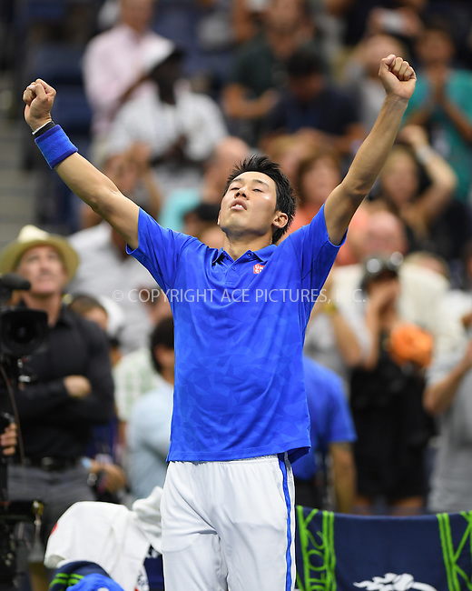 www.acepixs.com<br /> <br /> September 7 2016, New york City<br /> <br /> Kei Nishikori of Japan plays Andy Murray of Great Britain during their Men's Singles Quarterfinal match on Day Ten of the 2016 US Open at the USTA Billie Jean King National Tennis Center on September 7, 2016 in New York City<br /> <br /> By Line: Solar/ACE Pictures<br /> <br /> ACE Pictures Inc<br /> Tel: 6467670430<br /> Email: info@acepixs.com<br /> www.acepixs.com