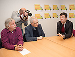 © Joel Goodman - 07973 332324 .  07/02/2014 . Wythenshawe , Manchester , UK .  ANDY BURNHAM , MP for Leigh and Shadow Secretary of State for Health , joins Labour candidate Mike Kane on the campaign trail , meeting NHS staff in Wythenshawe , ahead of the Wythenshawe and Sale East by-election , following the death of MP Paul Goggins .  . Photo credit : Joel Goodman