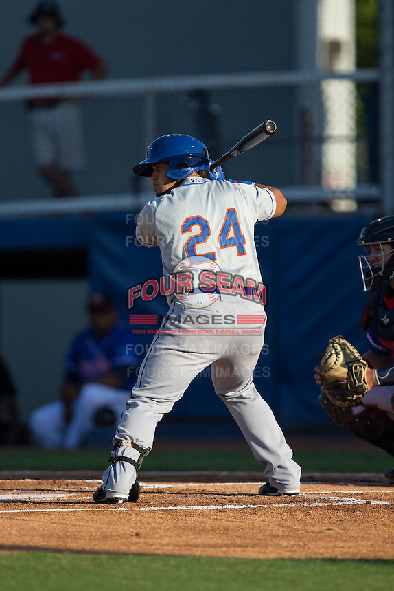 Jose Maria (24) of the Kingsport Mets at bat against the Danville Braves at American Legion Post 325 Field on July 9, 2016 in Danville, Virginia.  The Mets defeated the Braves 10-8.  (Brian Westerholt/Four Seam Images)
