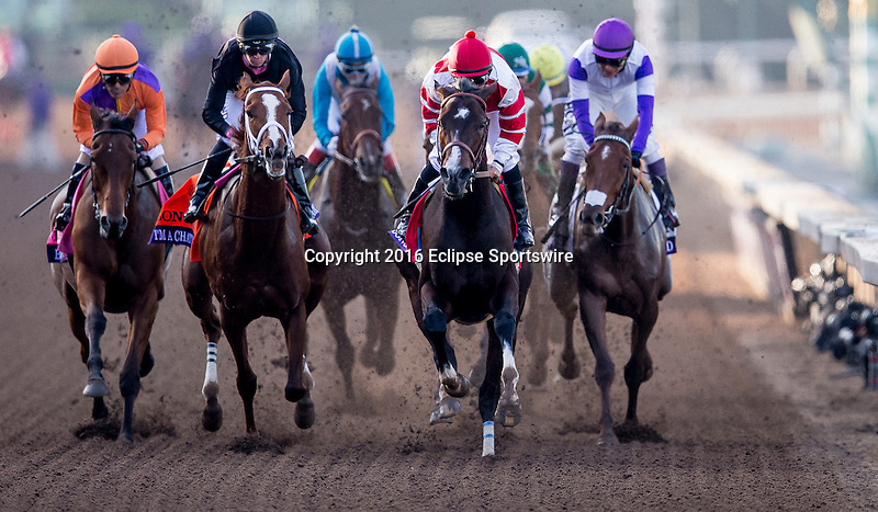 ARCADIA, CA - NOV 4:  Beholder #8, ridden by Gary Stevens (orange) overtakes Songbird #1, ridden by Mike Smith to win the Breeders' Cup Distaff, at Santa Anita Park on November 4, 2016 in Arcadia, California. (Photo by /Kaz Ishida/Eclipse Sportswire/Breeders Cup)